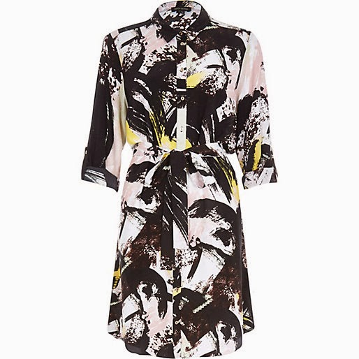 spray paint dress, shirt dress river island,