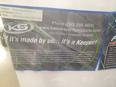 Keeper Sports California Board Company CBC 5.8 Sushi Soft Surboard now features aerial assualt thumb slot channels
