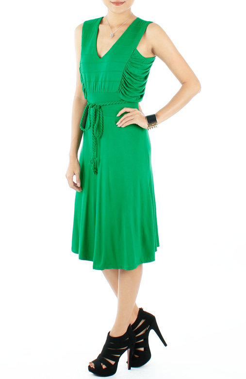 Terra Ruched Knee Length Flare Dress with Rope Belt