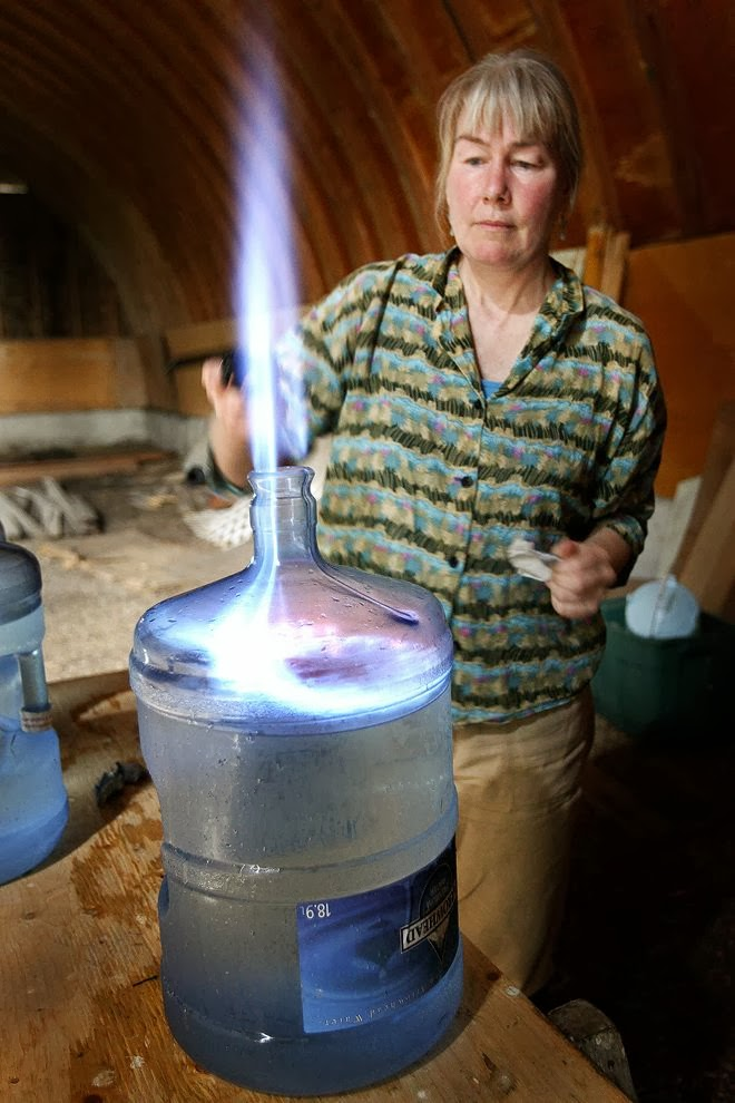 Due to methane contamination from fracking, Jessica Ernst can set her tap water on fire.