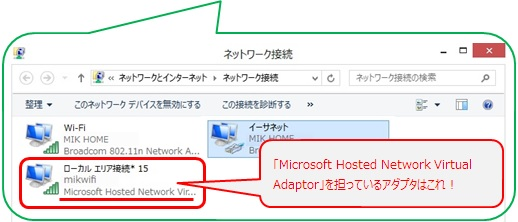 「Microsoft Hosted Network Virtual Adaptor」と表示されているアダプタを選択