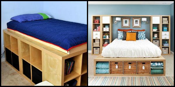 Je kan ook gewoon je hele bed maken met kallax kasten for Kleine kamer met water m