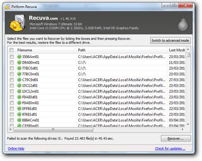 Recuva 1.46 | Software mengembalikan data yang terhapus atau hilang