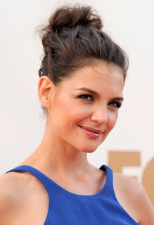 Katie Holmes Cute Casual Loose Bun Updo Hairstyle Katie Holmes long and loose hairstyles
