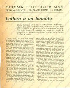 L' articolo che Mario Tedeschi giovane Ufficiale della Decima