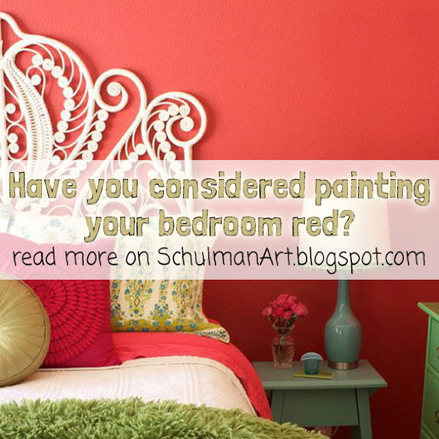 decorating ideas for bedrooms | red bedroom with tree art | read more on SchulmanArt.blogspot.com