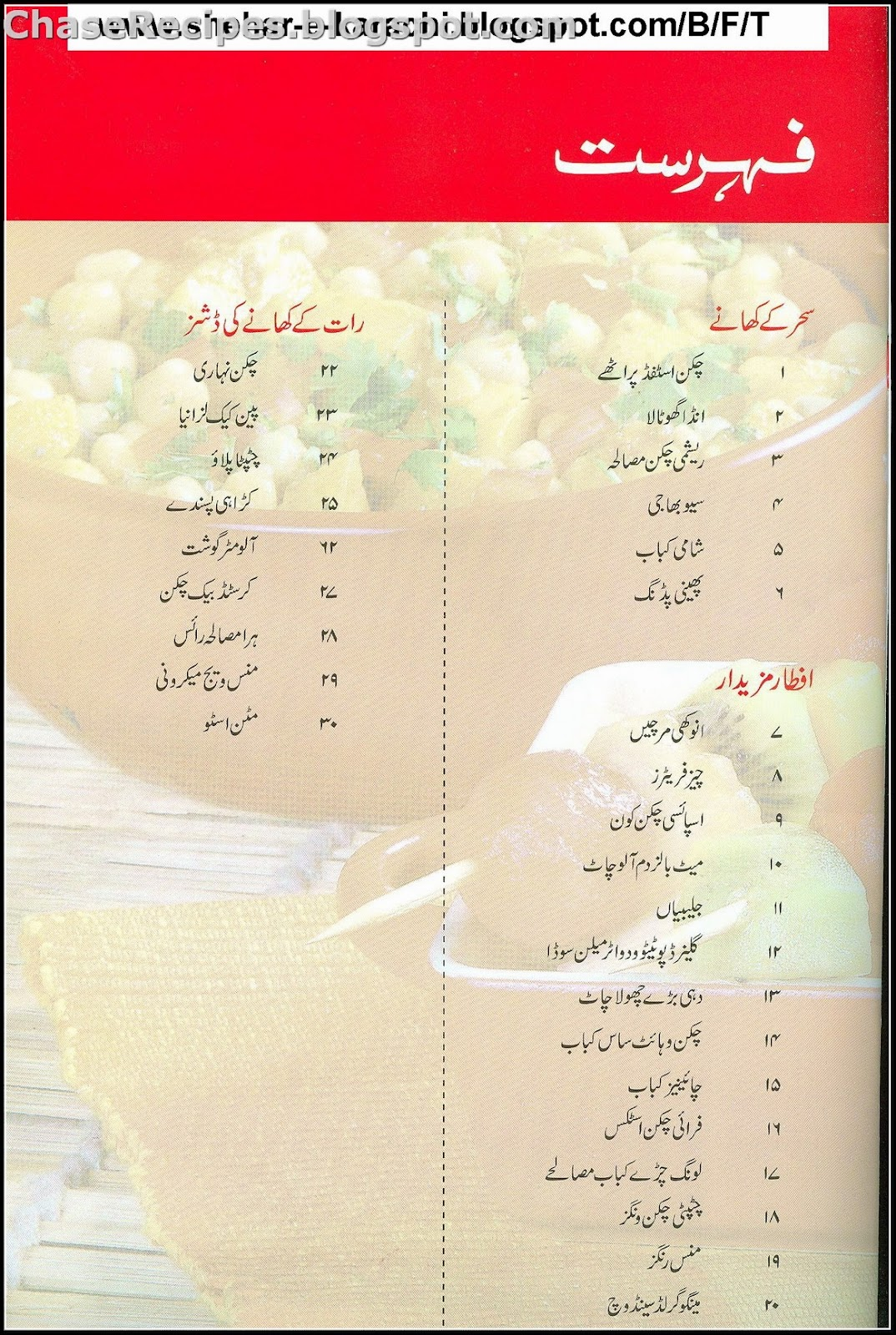 List of Ramzan Recipes (Iftari Sehri) - Chase Recipes
