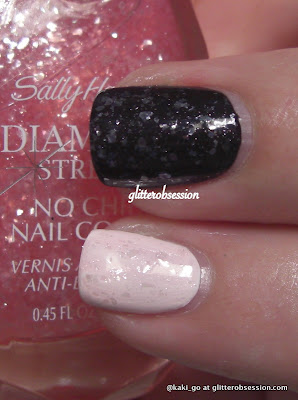 Sally Hansen Princess Cut layered over black and white 