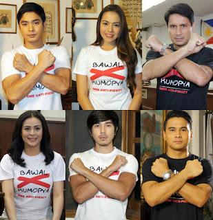"Coco Martin, Richard Gomez, Dawn Zulueta, Julia Montes, Paulo Avelino and Joem Bascon for OMB's ""Bawal Kumopya"" Campaign"