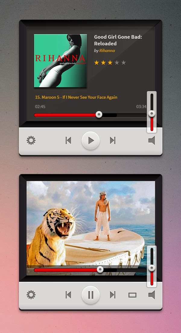 Free Music And Video Players PSD