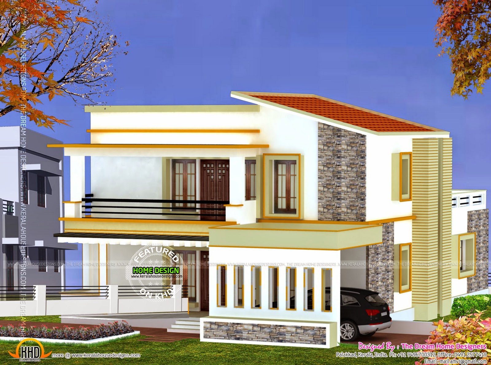 3d view and floor plan kerala home design and floor plans for Front look of small house