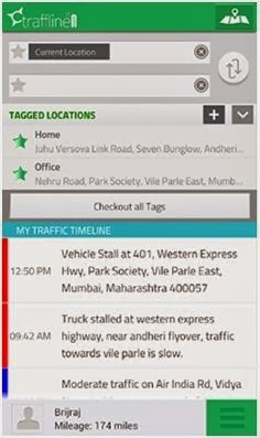 Screenshot of traffline app