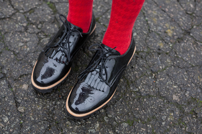 softwaves patent brogues, red tights