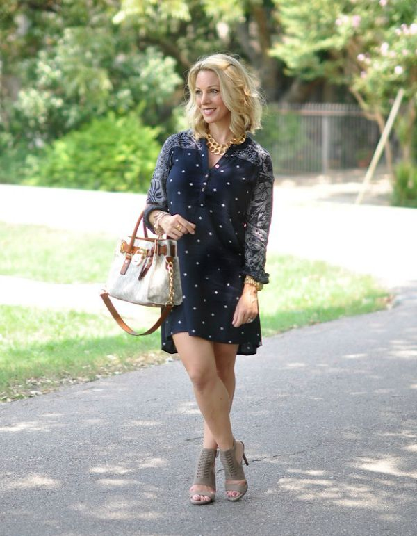 Fall Fashion - shirt dress and heels