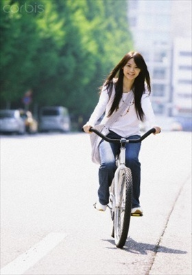 Walk and Bicycle Japanese girl