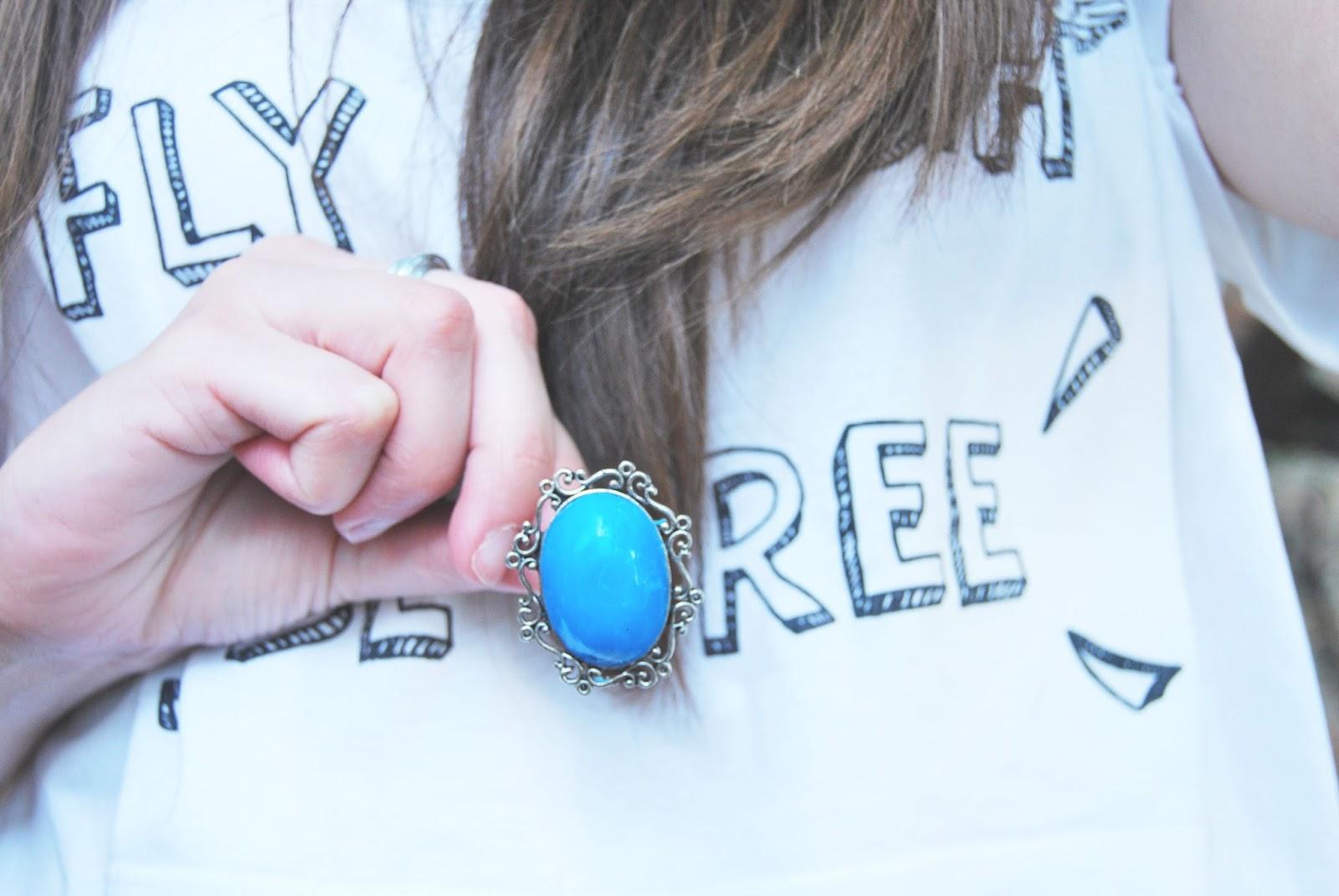 anillo azul cenefa plateada