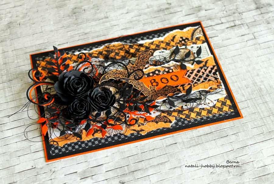 скрапбукинг, оранжевый, черный, Halloween