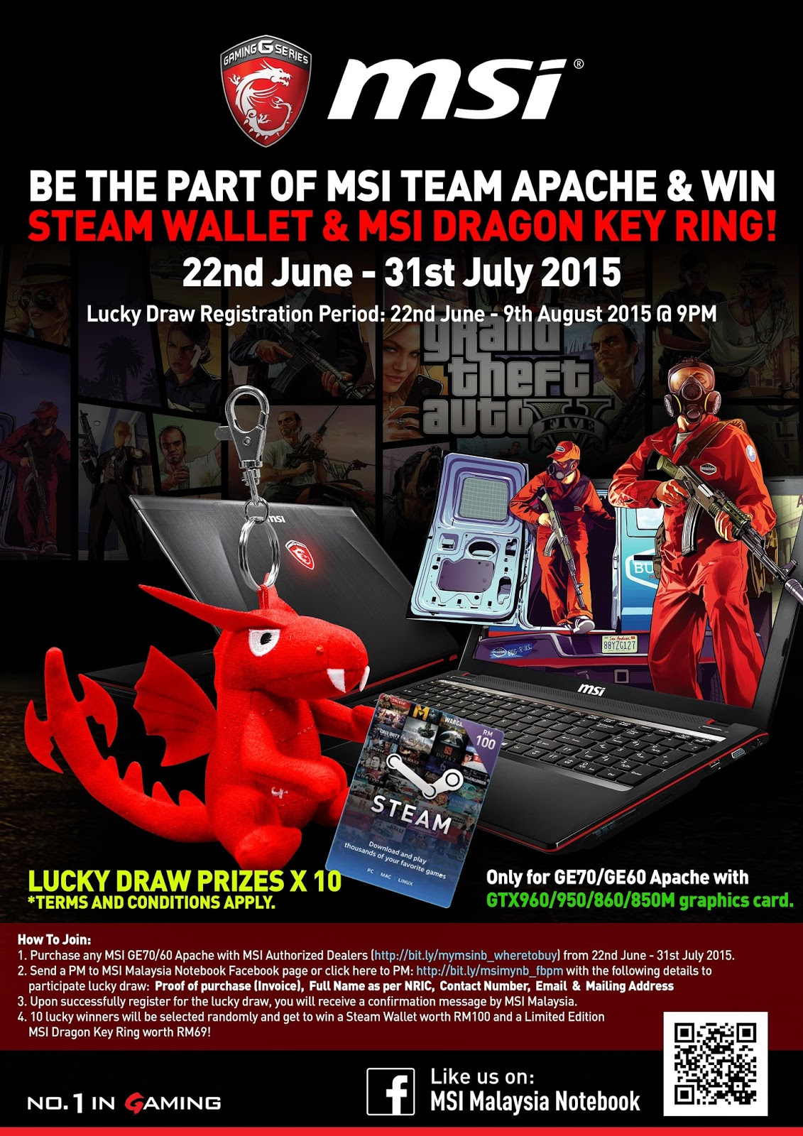 Be The Part Of Msi Team Apache And Win Steam Wallet Dragon Key 1 Ring