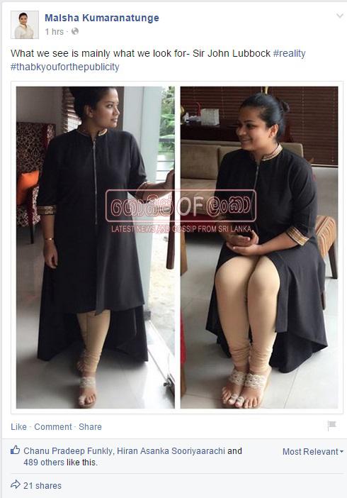 Malsha Kumaranatunge Responds To her Facebook Mud Story