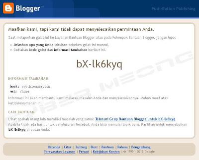 Tips Mengatasi Galat bX-lk6kyq pada Blogger