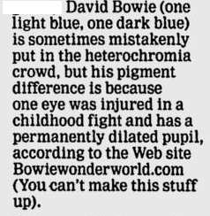 Snip of article about David Bowie's eyes, color pupils