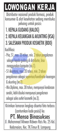 Karir Lampung PT. Mensa Binasukses
