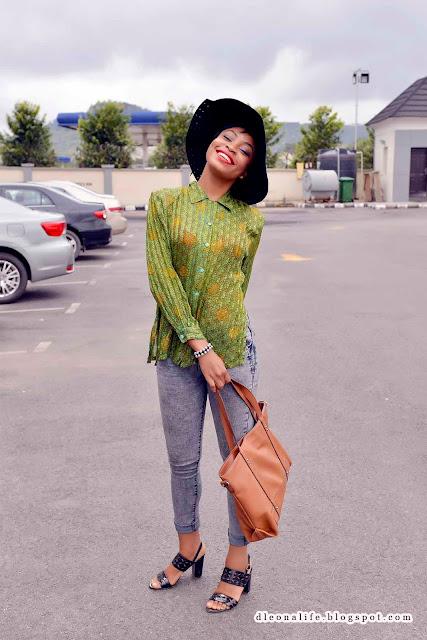 green-retro-shirt-grey-jeans-black-hat-naija-fashion-bloggers