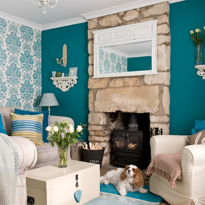 Living Room Teal And Yellow Accent
