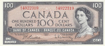 Bank of Canada money currency 100 dollars banknote bill