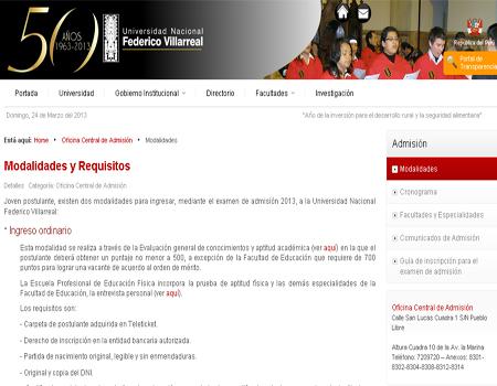 exámen admisión UNFV 2013, aprobados prueba UNFV 2013, Relacion de