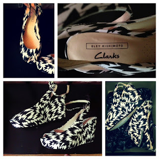 Eley Kishimoto, Eley Kishimoto for Clarks, Clarks shoes cute, cute Clarks heels, Clarks wedges, Clarks black and white, black white print heels, black and white geometric shoes, funky heels, Clarks funky heels, Eley kishimoto Clarks heels, Eley kishimoto wedges, NYC funky style, NYC lower east side, lower east side stores, lower east side fashion, new designers, fresh finds, NYC hidden gems, New York girl fashion, comfortable cute heels, comfy heels, comfortable wedges, cute and comfortable