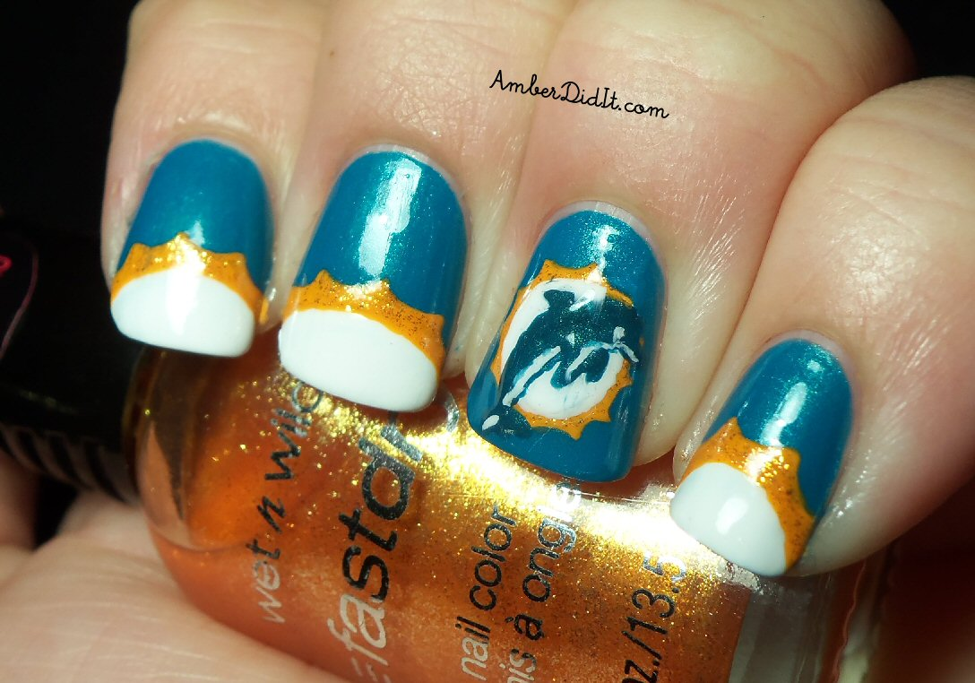 Amber Did It Nfl Nail Art Series 4 Miami Dolphins Nails