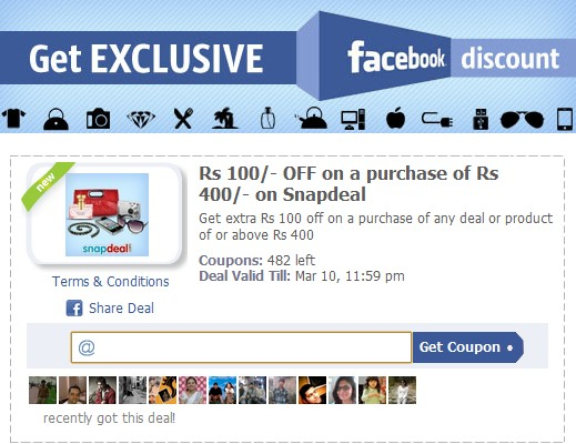 Discount coupon for snapdeal
