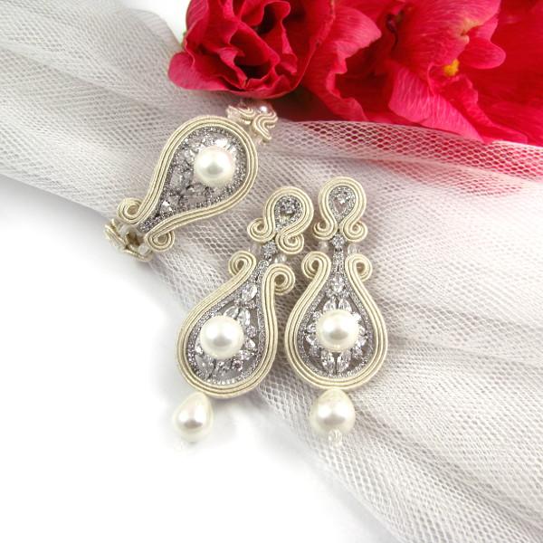 kolczyki i bransoleta ślubna soutache ivory z perłami