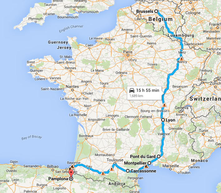 Road Trip from Belgium to Spain Travelin with the TMax – Belgium Road Map