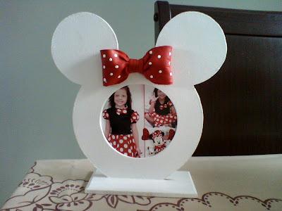 Porta Retrato Em Mdf Da Minnie   La  O Vermelho De Biscuit