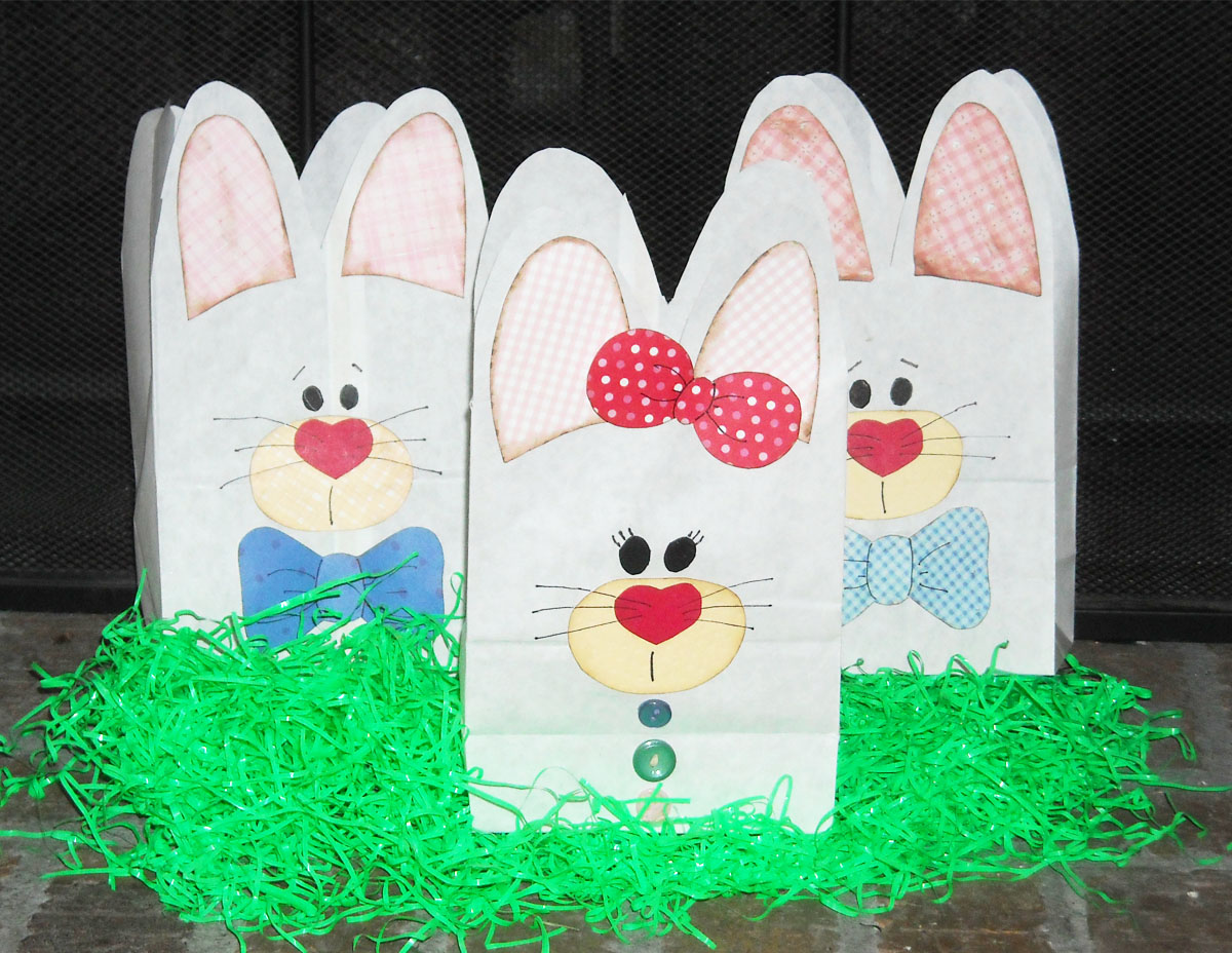 Homemade Easter Baskets & Paper Baskets. Here are Robin's paper bag Easter baskets. Here's an adorable scrapped mini Easter basket. That bunny on the side is so adorable. You can check out more pictures and a link to the tutorial over at 'A Scrapping Mom's Scraps'.