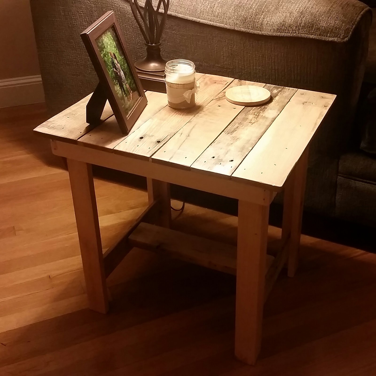 Rustic Wood End Table With Natural Stain