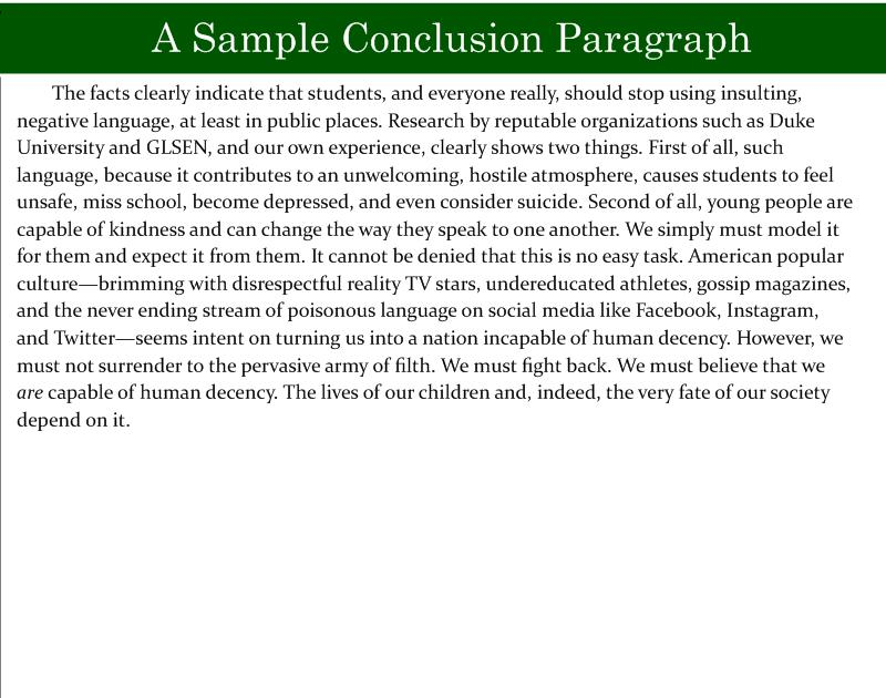 Good Persuasive Essay Conclusion Example