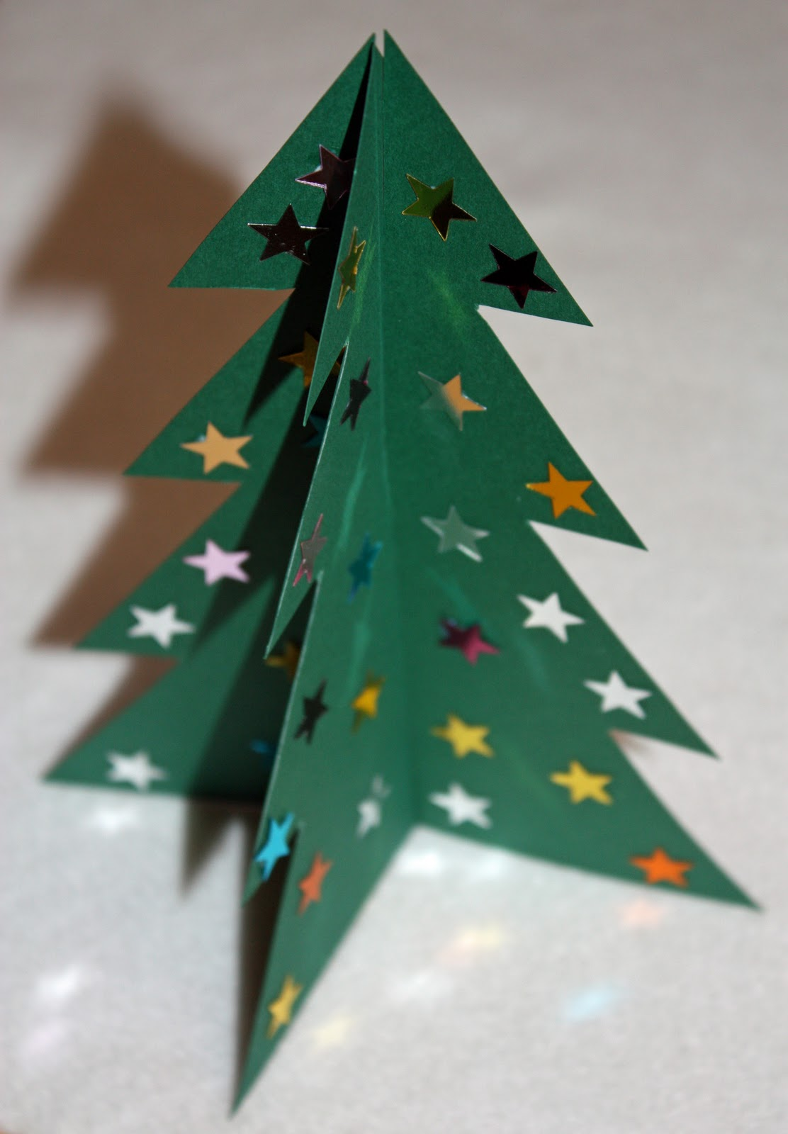 make a 3d card christmas tree with printable template