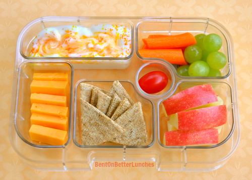 Real easy bento school lunch in a Yumbox
