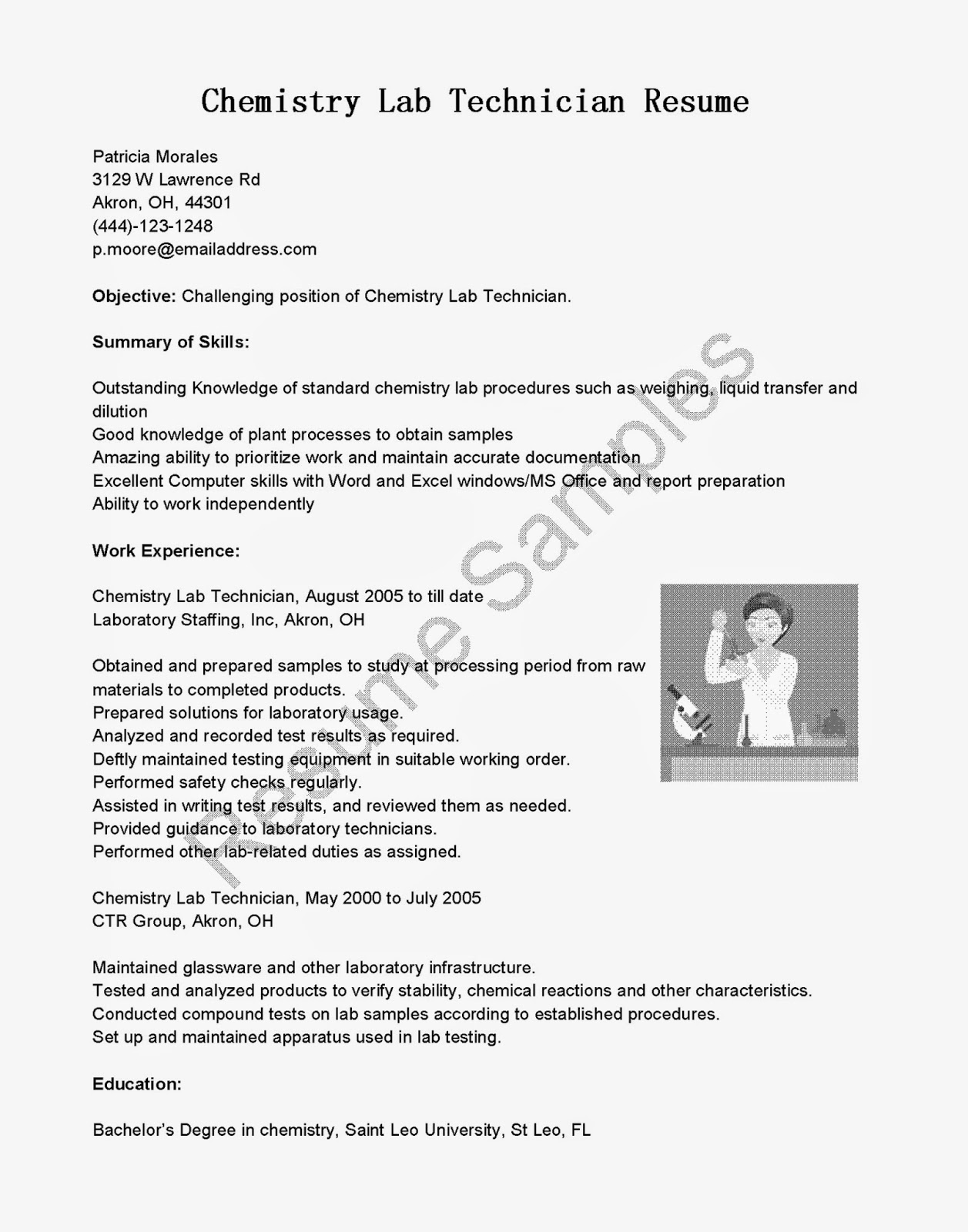 School science technician resume