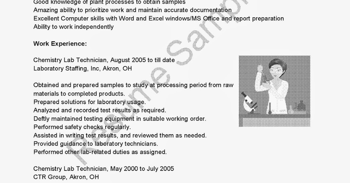 Chemistry resume sample
