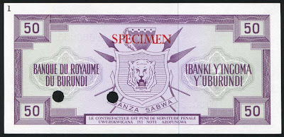 Burundi currency 50 Francs