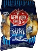 New York Bakery Mini Plain Bagels