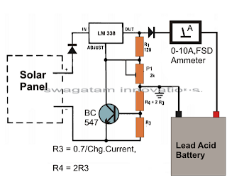 simple solar battery charger circuit using a single LM 3338 IC