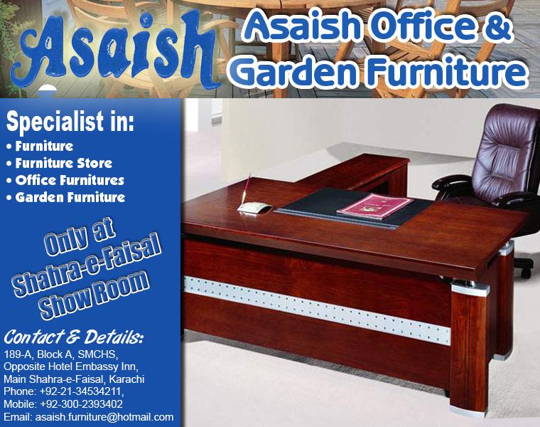 Garden Furniture Karachi telephone numbers: asaish office & garden furniture