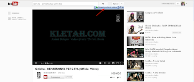 Video Youtube yang siap didownload