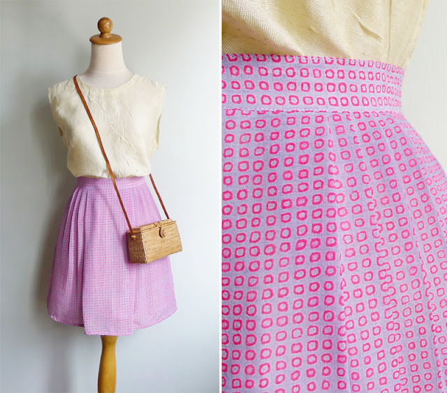 vintage purple pleated mini skirt