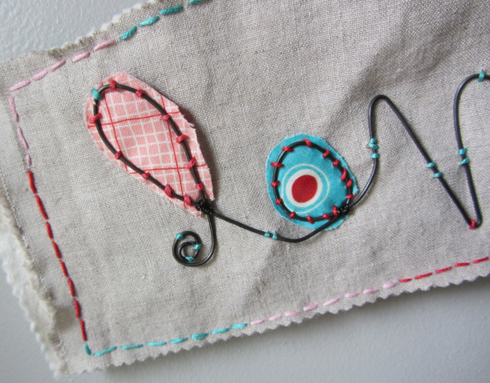 Made by Nicole: Wire Love Stitched Wall Art